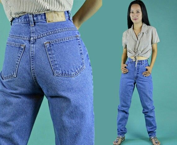 Vintage Jeans 80s High Waist Jeans Tapered Jeans Distressed Denim