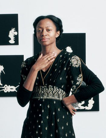 "Kara Walker. Because her artwork is stunning and emotional. Google ""A Subtlety"", and find out what I mean."