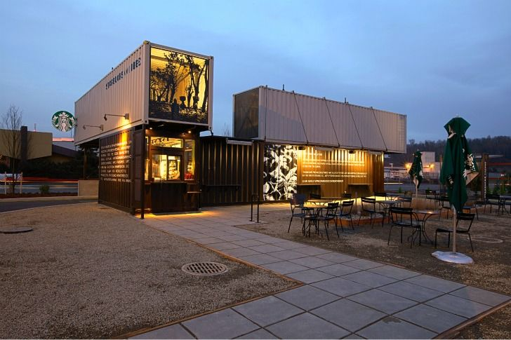 Starbucks Opens New Reclamation Drive Thru Made From Recycled Shipping Containers.