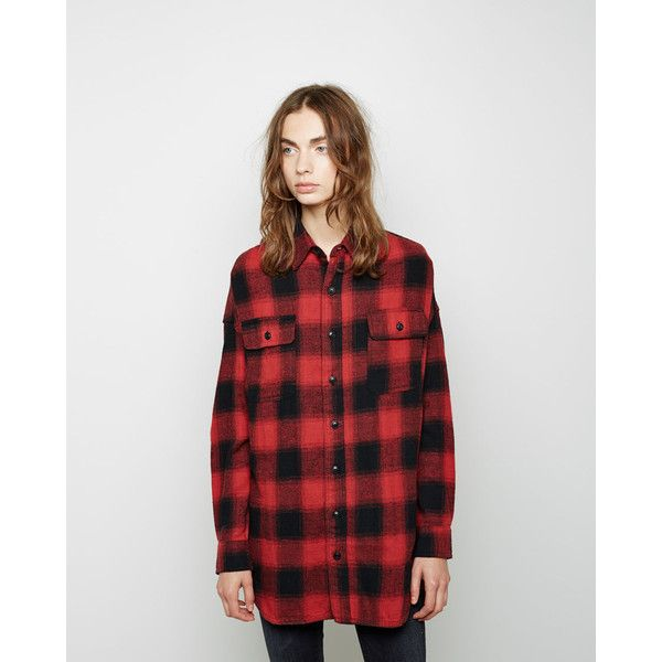 R13 Oversized Plaid Shirt (€385) ❤ liked on Polyvore featuring tops, plaid button up shirts, black shirt, oversized plaid shirt, button up shirts и flannel shirts