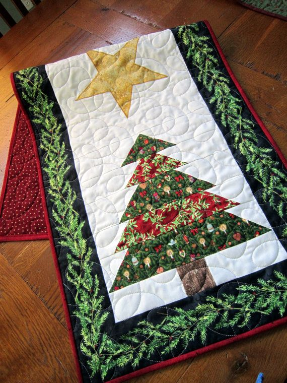Double Christmas Tree Quilted Table Runner By