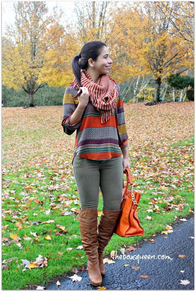 Stitch Fix Outfit Idea, Over the Knee Brown Boots, Casual Style