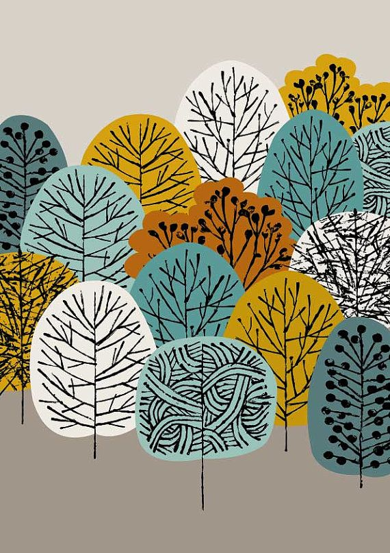 Treetops is a print that adds to my growing range of tree-inspired images, with a colour palette reflecting my current preferences and seasonal
