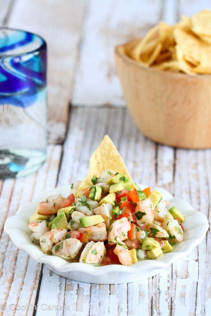 Tequila-Spiked Shrimp Ceviche Recipe with Avocado | cookincanuck.com #CincodeMayo #shrimp #avocado
