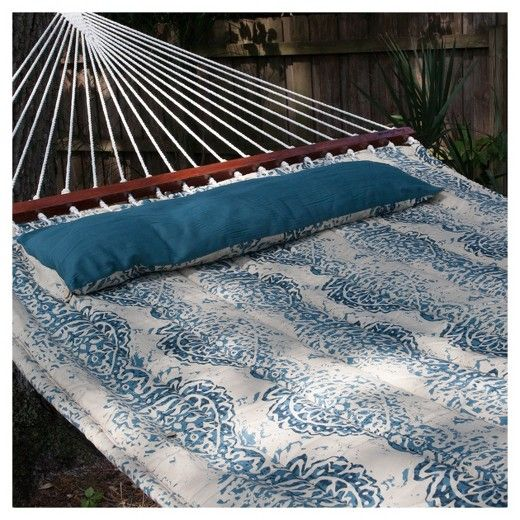 """Relax in your backyard or patio with this Java Reversible Double Hammock. Featuring a hammock bed made of custom quilted cotton fabric with 150 gr poly fill for a softer feel and lasting durability, this hammock fits all standard double hammock stands. The reversible design allows the solid teal or unique Batik pattern design to be displayed. The sturdy 1/4"""" three ply twisted rope connecting the hammock to the hanging chain is handwoven and tied by a professional craftsman. Included..."""