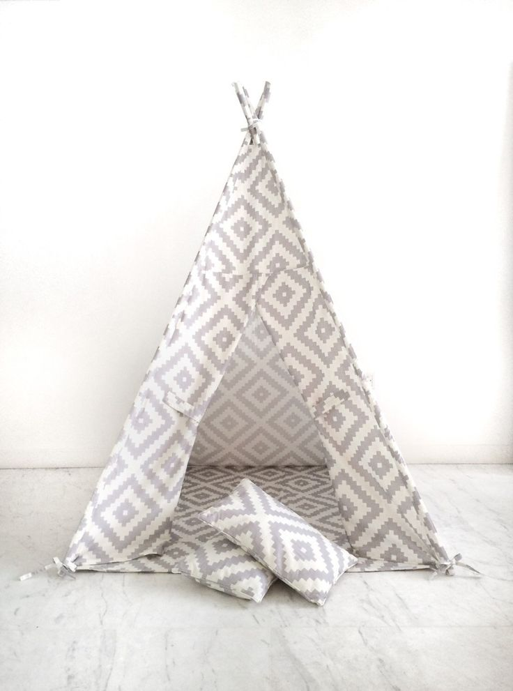 Children's Play Tent Teepee Wigwam Play Fort. Handmade for Kids in Cream & Grey Pixelated Diamond pattern. Comes w/ Mat Base and Two Pillows by DomesticObjects on Etsy https://www.etsy.com/listing/206624569/childrens-play-tent-teepee-wigwam-play