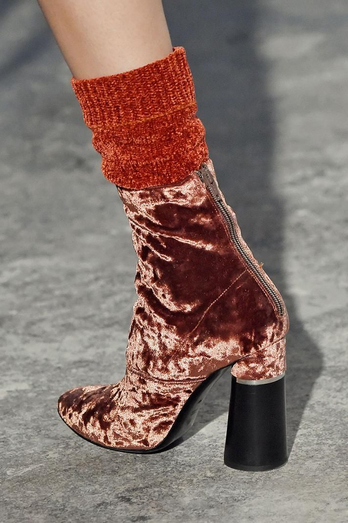 3.1 Phillip Lim rust orange velvet ankle boots and matching socks | The Best Shoes From NYFW Fall 2016 @stylecaster