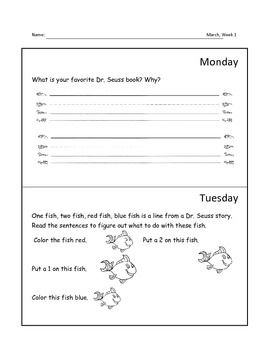 Here is a sample of my kindergarten homework packet.  It is aligned with the Common Core and corresponds with what is being taught each month.  I used it as a review with my students.  The March-June packet can be purchased in my TPT store.