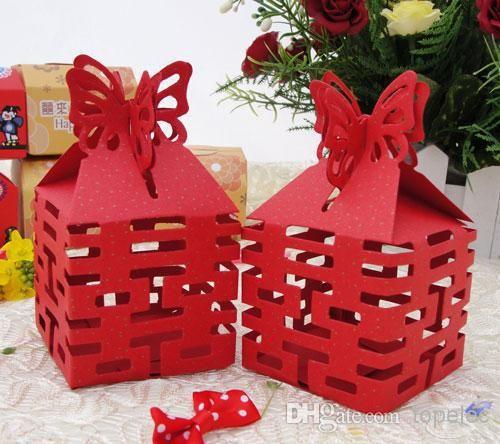 En stock prix pas cher de style chinois bonbonnière wedding favor boîtes cadeau