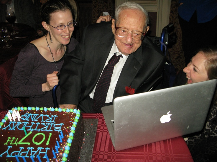 Longevity Genes Project study participant Irving Kahn skyping with relatives during his 107th birthday party.