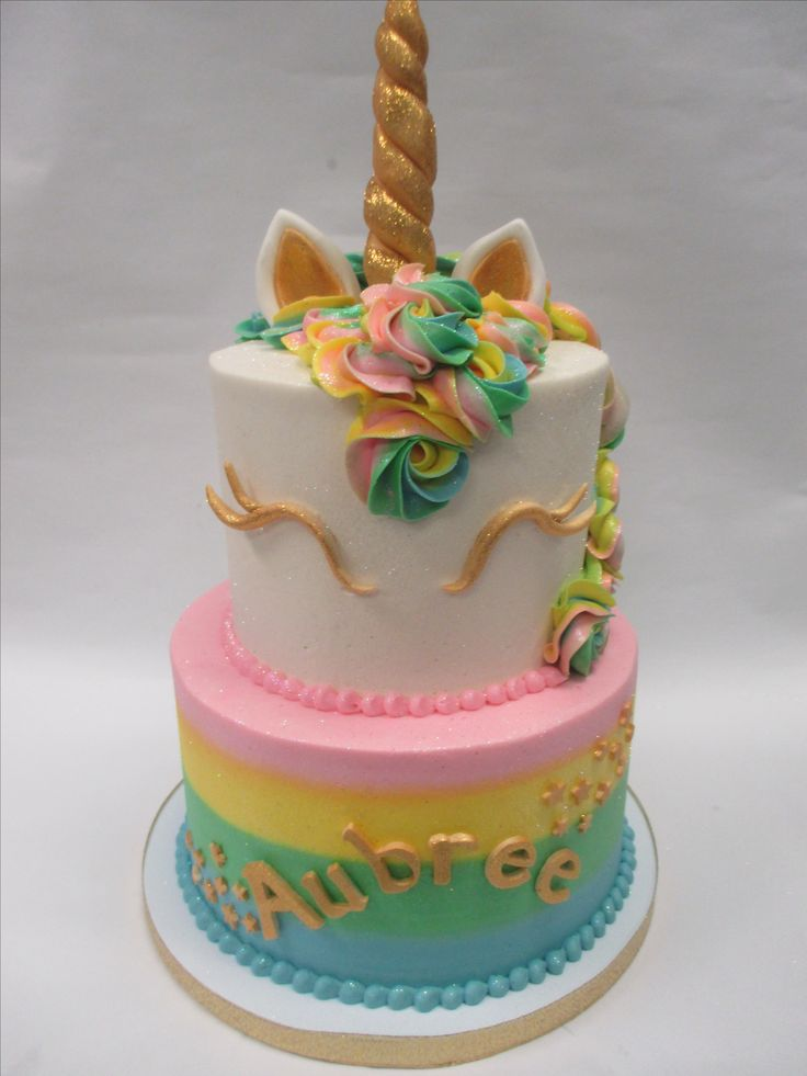 Colorful Pastel 2-Tier Unicorn Cake with Gold Accents by Flavor Cupcakery