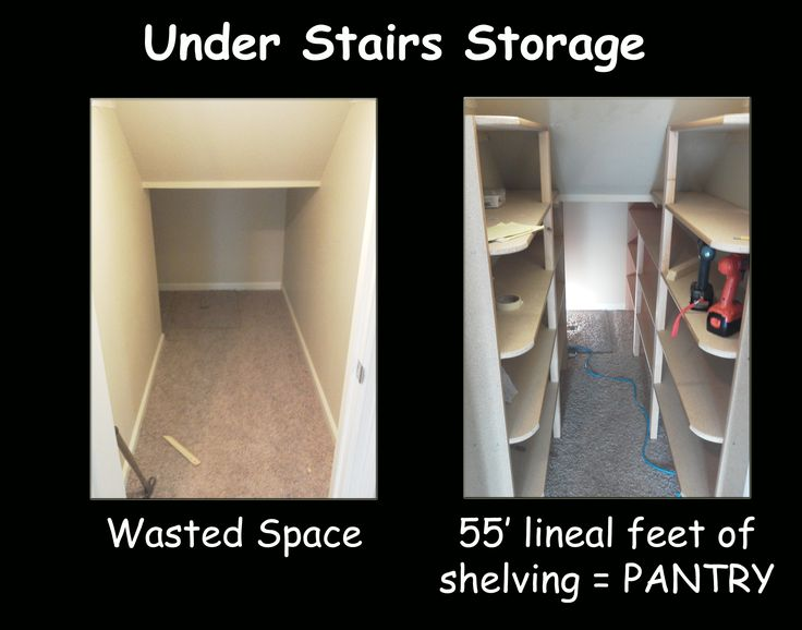 I had wasted space in that weird under stairs closet... So we made it a pantry in 2 days! Able to hold three Quart mason jars deep and two pints high or one half gallon mason jar = lots of storage!