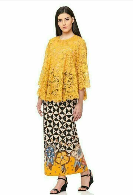 Model Kebaya Brokat Modern Warna Kuning Emas Fashion Di 2019