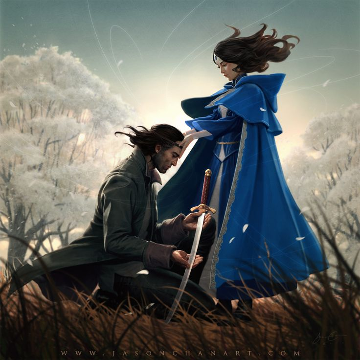 """Jason Chan's cover art for the ebook release of Robert Jordan's """"New Spring"""". I love his subtle use of digital imaging effects to enhance the mood of the image. Beautifully considered composition as well. I love the belly-in-the-grass viewpoint, which makes tiny Moiraine loom imposingly; it is a nice touch."""