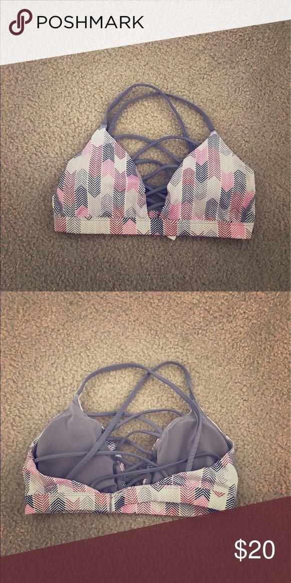 Victoria's Secret sports bra. Victoria's Secret multi color sports bra. Strappy back details. Victoria's Secret Tops