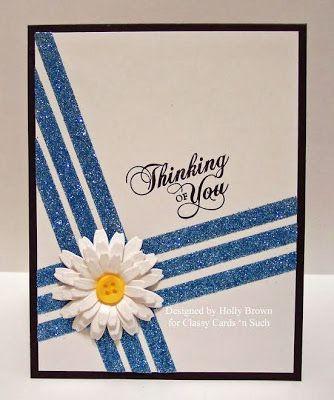 Daisy Glitter Stripes - Classy Cards n Such