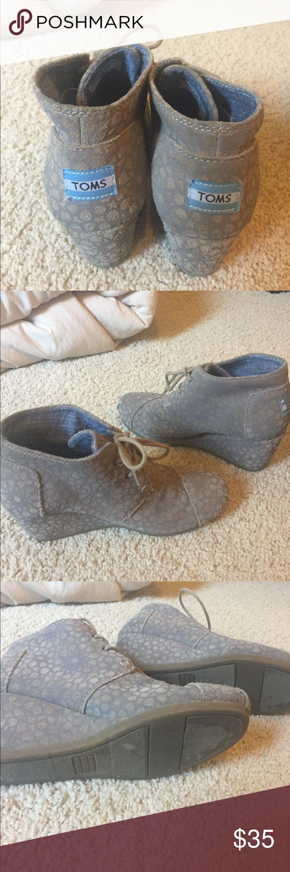 TOMS Desert Wedge Booties These are so comfy and versatile. Taupe and gray spotted design that is hard to find. Good condition. Also selling a pair in blue. Bundle for a discount! Toms Shoes Ankle Boots & Booties