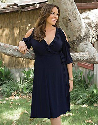 a639a0543ef Kiyonna-Women-039-s-Dress-4X-Black-Wrap-Plus-Size -Barcelona-Party-Cold-Shoulder