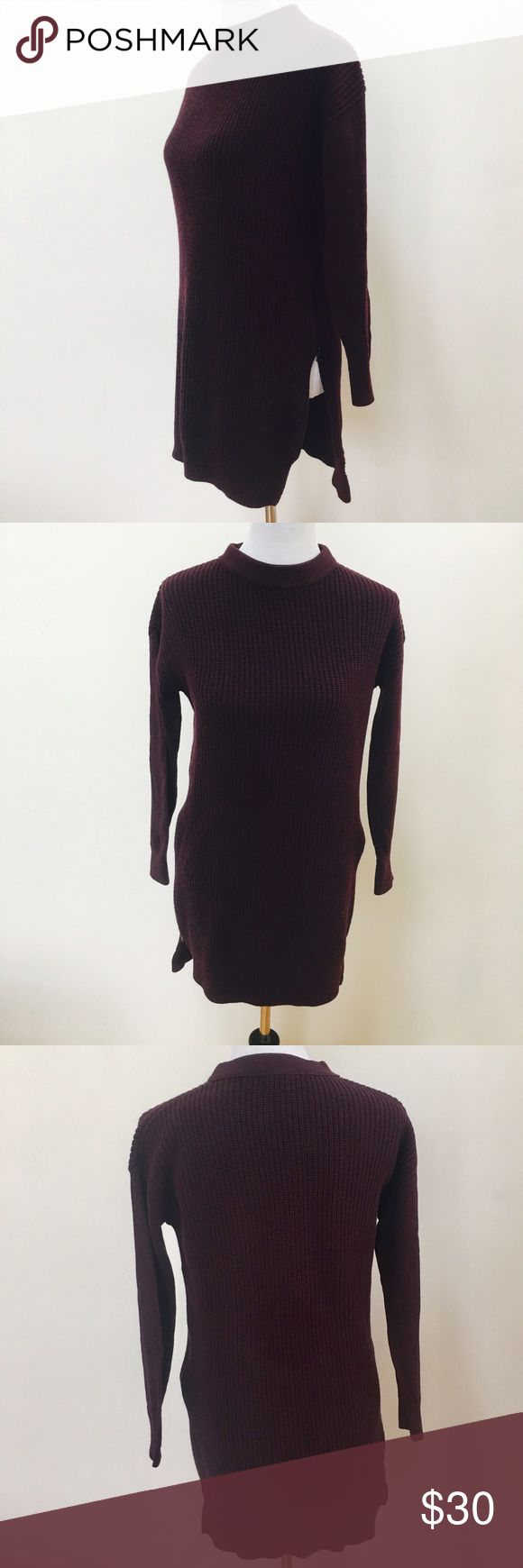 Burgundy high low zipper sweater dress Robbed burgundy sweater dress, zips up on both sides, brand new without tags, never worn, perfect with over the knee boots! Halogen Dresses
