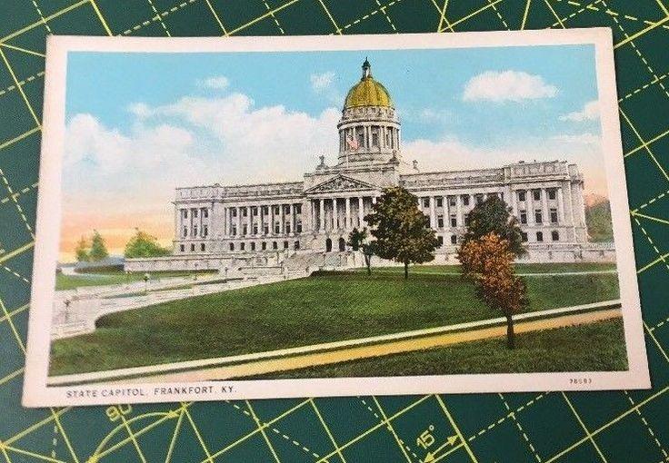 STATE CAPITOL, FRANKFORT, KENTUCKY Vintage White Border Linen Postcard
