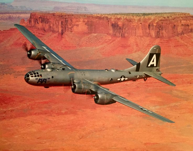 Boeing B-29 Superfortress. Powered by four eighteen-cylinder Wright R-3350 engines, this heavy strategic bomber boasted a 20,000-pound bomb load, a top speed of 365 miles per hour, and a range of 6,000 miles. The Superfortress was the first to offer it's crew members pressurized compartments, as well as remote-controlled gun turrets.