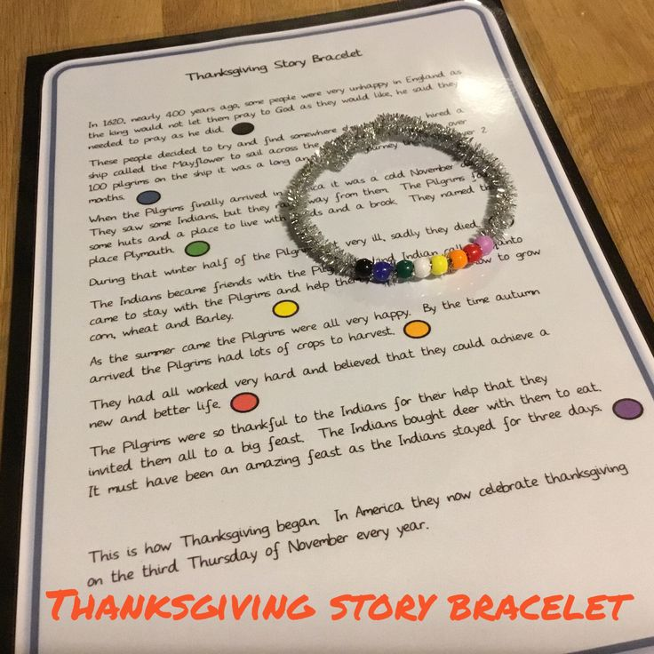 Free printable - a simple story of the First Thanksgiving to build a story bracelet.