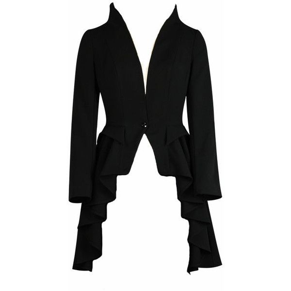 Plus Size Black Gothic Waterfall Frock Jacket (1,340 MXN) ❤ liked on Polyvore…