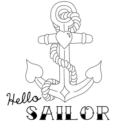 Hello Sailor - Vintage Anchor Tattoo Inspired Free Embroidery Pattern