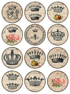 crowns Vintage Printable Tags Digital Collage Sheet por 300dpi