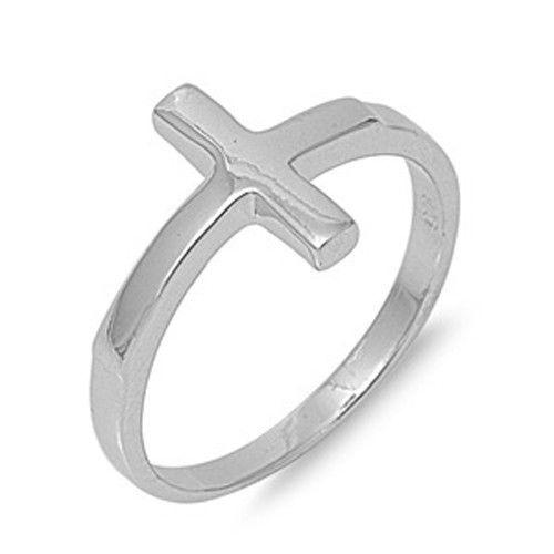 FashionJunkie4Life - Sterling Silver Sideways Cross Ring