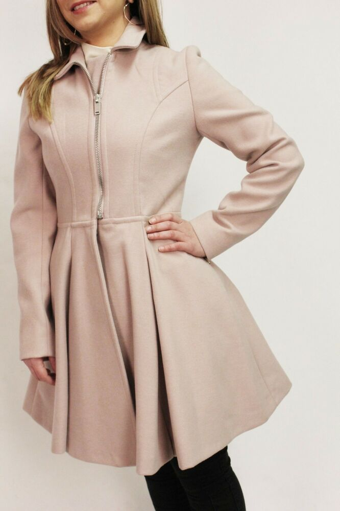 f4bbe2178 ASOS Blush Fit Flare Zip Princess Wool Skater Coat Swing Military ...