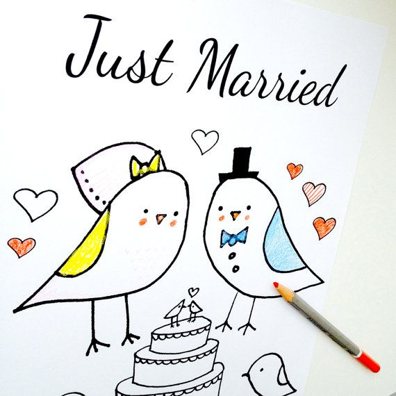 wedding coloring page just married love birds theme pdf instant download for a wedding reception sweet bird bride and groom diy bride