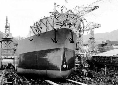 From the launching of the bulk carrier ERO, built by Ishikawajima-Harima Heavy Industries Co. Ltd., Japan, for a company under the management of C.M. Los (London) Ltd. / Από την καθέλκυση του bulk carrier ERO στις 25 Δεκεμβρίου 1964. Κατασκευάστηκε στα ιαπωνικά ναυπηγεία Ishikawajima-Harima Heavy Industries Co. Ltd. για λογαριασμό εταιρείας υπό τη διαχείριση της C.M. Los (London) Ltd.