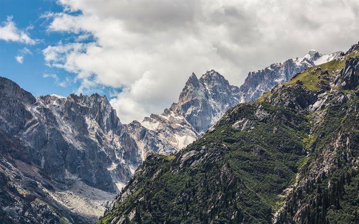 Download wallpapers mountain landscape, snow, rocks, highlands, forest, blue sky
