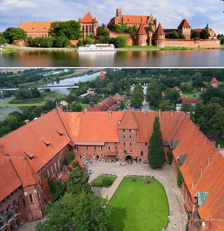Malbork Castle in Poland   -- The World's largest brick Gothic castle