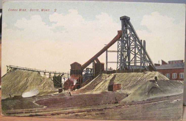Montana Postcard CORRA MINE Copper Mining BUTTE Headframe Gallows Ore 1910s Mont in Collectibles   eBay