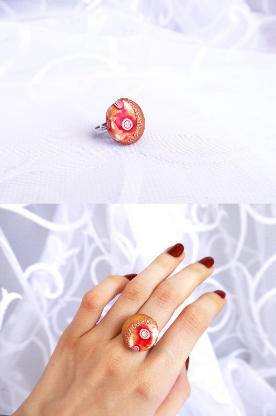 Fall ring Round ring Polymer clay Modern ring Red by BeLoveCreate