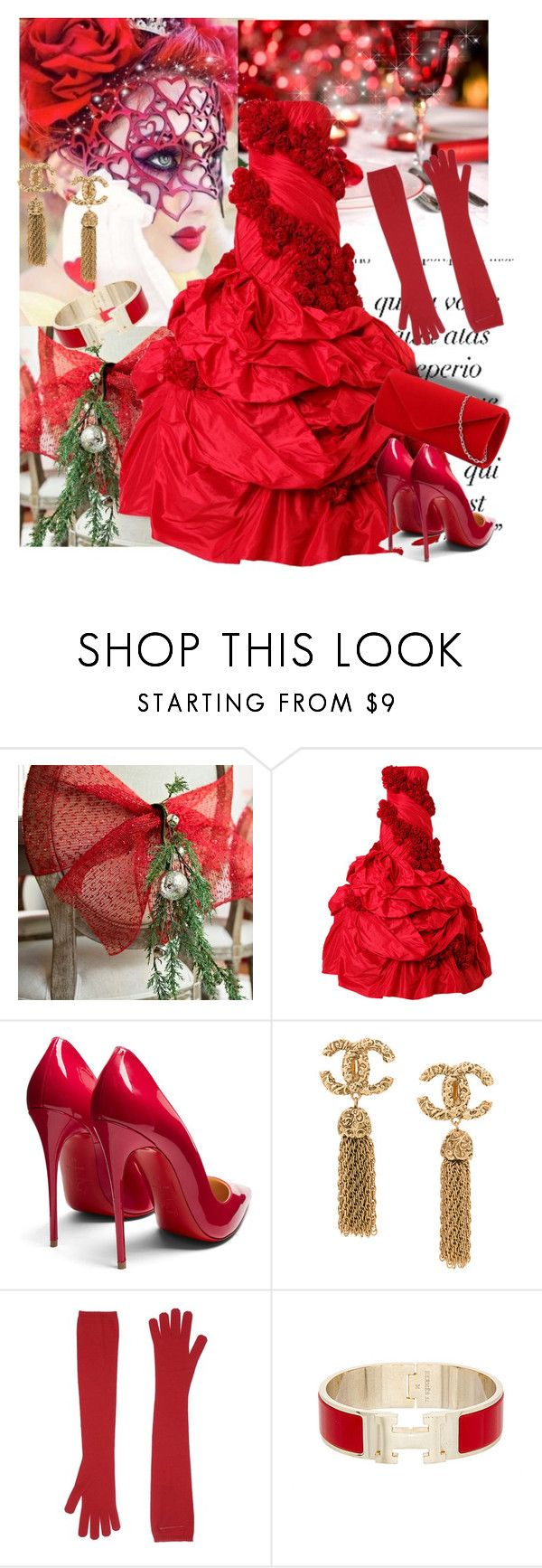 """Christmas Masquerade Party"" by sherrysrosecottage-1 ❤ liked on Polyvore featuring Masquerade, Rubin Singer, Christian Louboutin, MM6 Maison Margiela and Hermès"