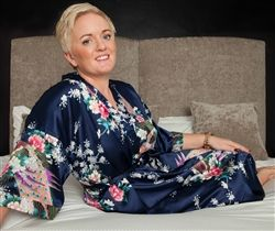 Personalised Floral Satin robe, beautiful Midnight Navy colour! Perfect for the wedding morning preparations. Available at WowWee.ie