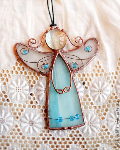 Элементы интерьера ручной работы. Ярмарка Мастеров - ручная работа ангел витраж 18 бронь. Handmade.