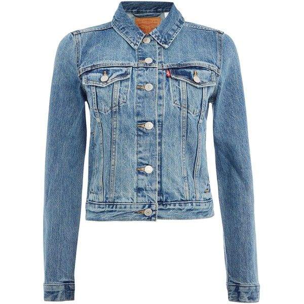 Levi's Authentic trucker denim jacket in traveling road (335 PEN) ❤ liked on Polyvore featuring outerwear, jackets, denim mid wash, women, blue jean jacket, jean jacket, blue jackets, travel jacket and denim jacket