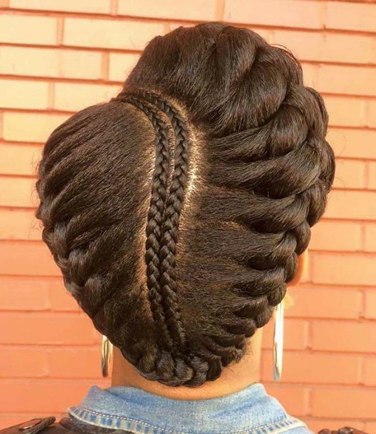 Crown braid with a twist for naturally curly and fizzy hair