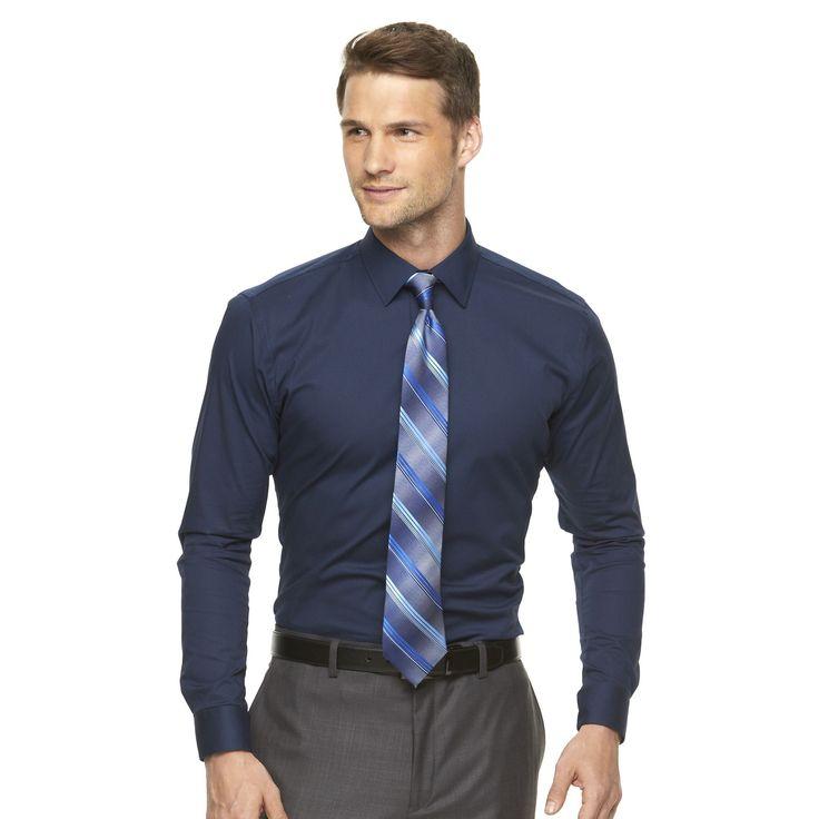 Men's Apt. 9® Slim-Fit Stretch Spread-Collar Dress Shirt, Size: 15.5-32/33, Blue
