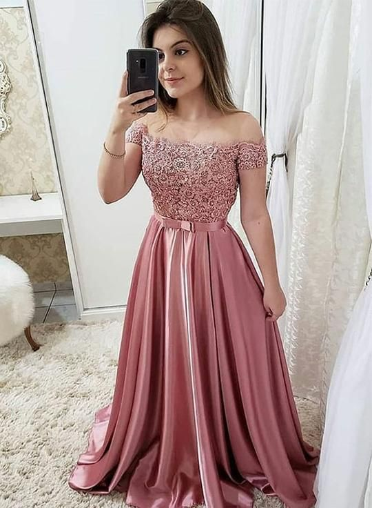 38aa52b7f3ae Pink lace off shoulder long prom dress, pink evening dress in 2019 ...
