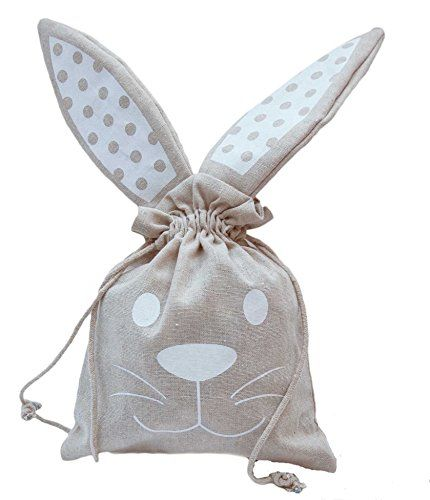 "3 Pack Easter Egg Basket for Kids - Bunny Ears Easter Bunny Tote - Paint Your Own DIY Bunny Bags - Easter Basket Canvas Bunny Drawstring Totes for Easter Eggs 8"" x 17"""