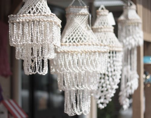 Sea Shell hanging chandeliers..