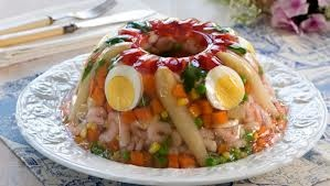 Kabaret... a sort of aspic salad that my mom would make only for fancy occasions (and that nobody really would eat). Still very old school Norwegian