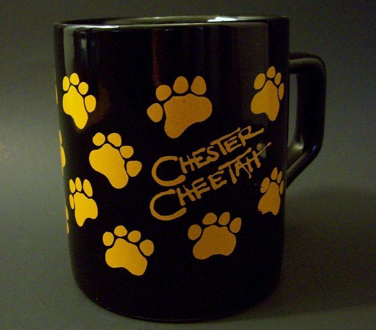 NEW Chester Cheetah Black Coffee Cup Mug Orange Cheetos Paw Prints Frito Lay #Cheetos