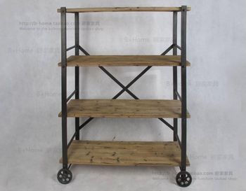 LOFT American country after the United States and French country-style industrial pulleys , wrought iron wood shelf bookcase
