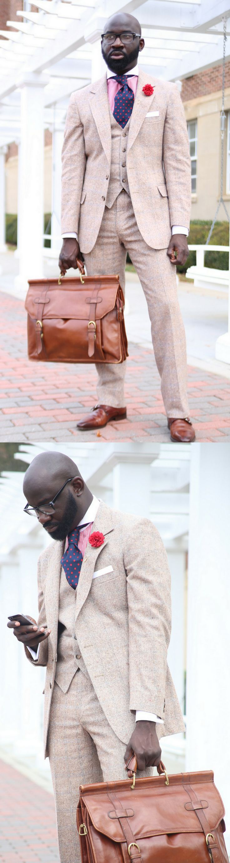 tweed and brown leather